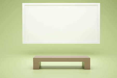 brown bench and a white screen in the green room Stock Photo
