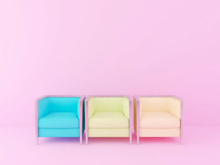 colorful chairs in the pink room