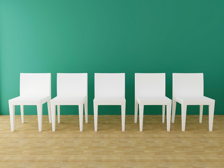 five white chairs in the room