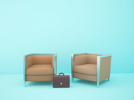 two brown chairs in the blue room
