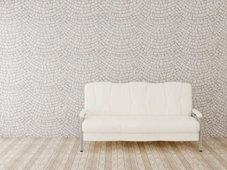 stone wall and leather sofa Stock Photo