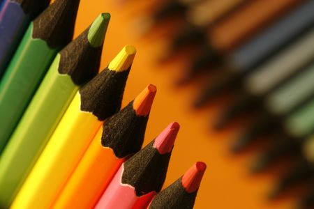 sharpen: a part of  pencils with a simple  colorful background Stock Photo