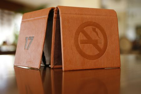 cardia:  a no smoking sign in a table
