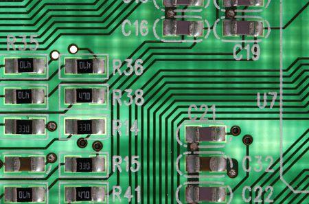 circuitboard: madre del computer, audio e schede di rete in dettaglio