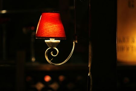 open wall red  lamp in a restaurant photo