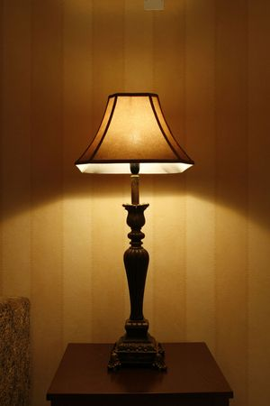 an open standing lamp in living room photo