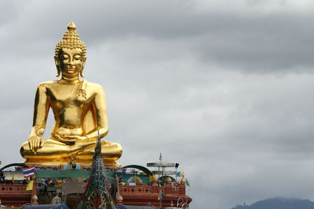 confines: a big Buddha at north Thailand near Laos and Burma Stock Photo