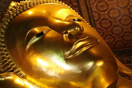 orison: a Buddha face in temple at Thailand Stock Photo