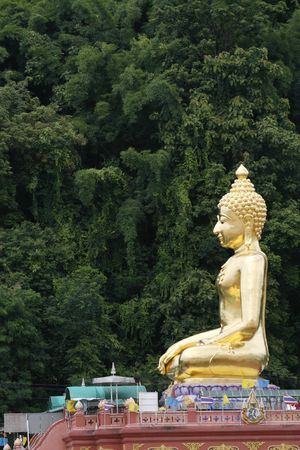 orison: a big Buddha at north Thailand near Laos and Burma Stock Photo