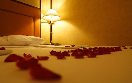 an image with roses,bed and a standing lamp photo