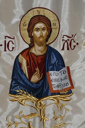 orthodox: a fabric paint icon with Jesus
