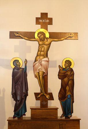 chapel catholic: Figure of Jesus on the Cross  Stock Photo
