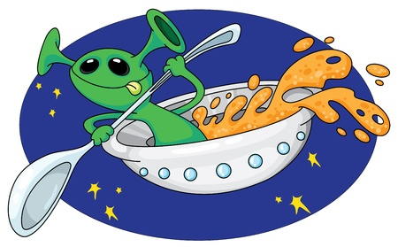 illustration of a alien in space Vector