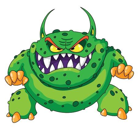 怒っている緑モンスターのイラスト  イラスト・ベクター素材