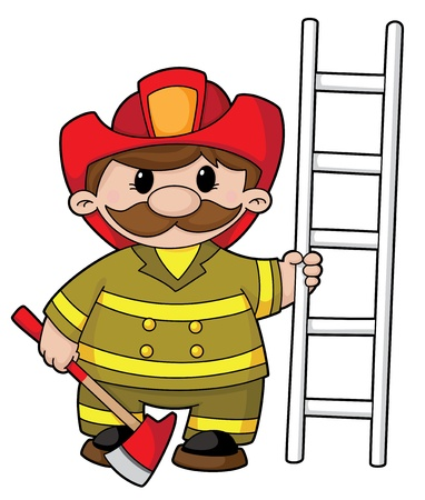 ladder safety: illustration of a firefighter with the equipment