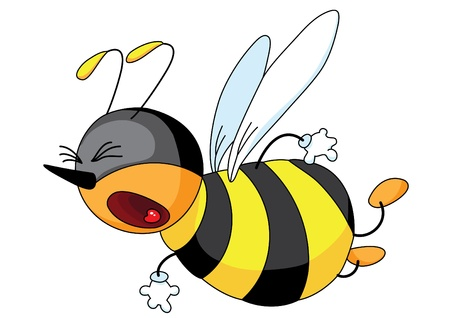 fly cartoon: An illustration of a angry bee