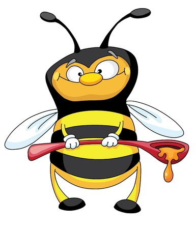 An illustration of a little bee with the big spoon full of honey Vector