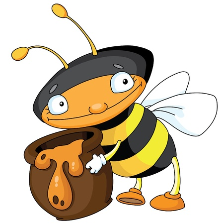 An illustration of a little bee with the pot full of honey