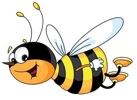 abeja caricatura: Una ilustración de una abeja alegre Vectores