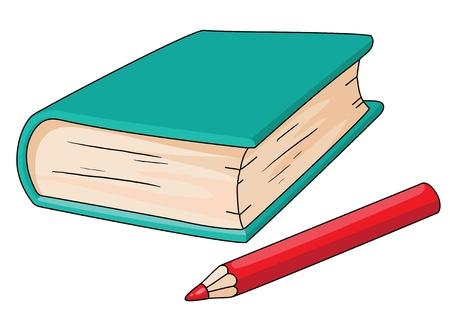 pencil cartoon: illustration of a book and pencil