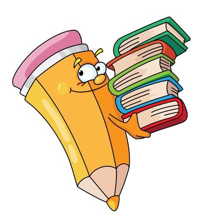 Illustratie van een potlood met boeken