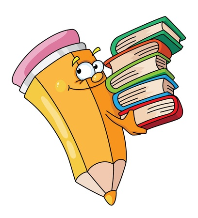 Illustration of a pencil with books