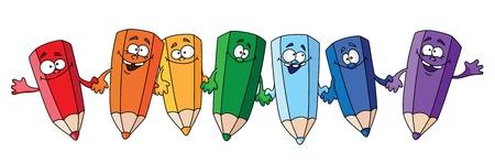 writing equipment: illustration of seven humorous pencil Illustration