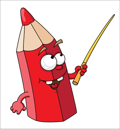 illustration of red school pencil