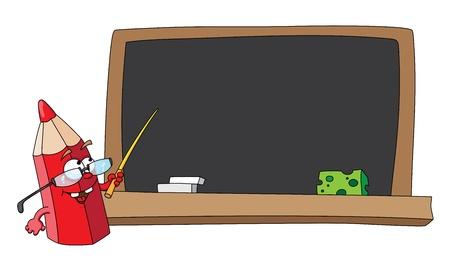 teaching crayons: illustration of school pencil and blackboard