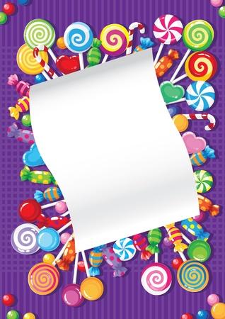 piruleta: Ilustración de una tarjeta de caramelos y dulces