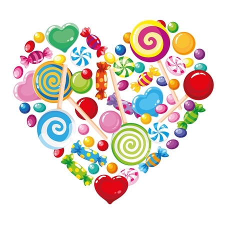 candy cane: illustration of a candy heart white