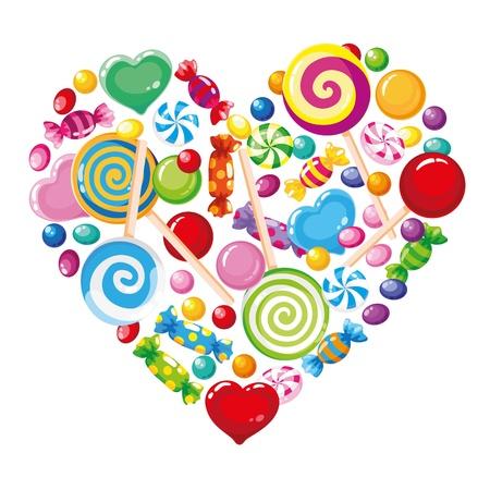 caramelos navidad: Ilustraci�n de un coraz�n de caramelo blanco Vectores