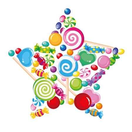 mint candy: illustration of a candy star white Illustration