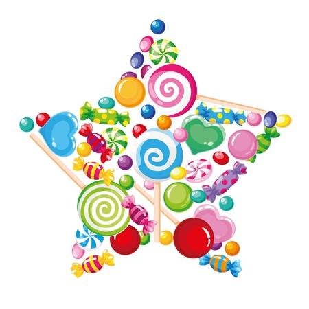 lollipop: illustration of a candy star white Illustration