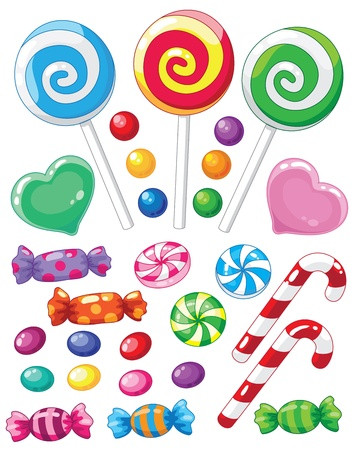 candy cane: illustration of a set of sweets