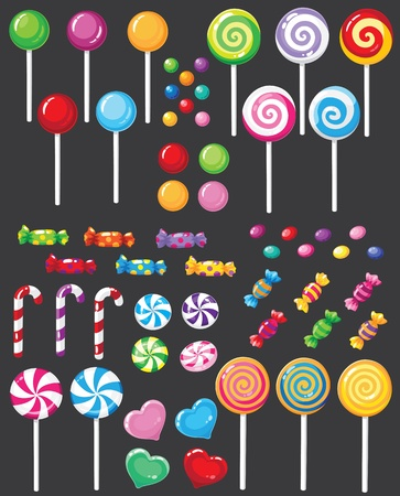 candy cane: illustration of a sweets candy set Illustration