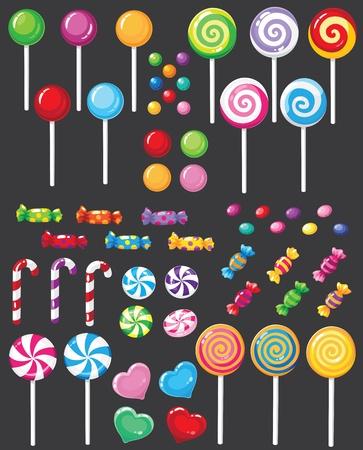Ilustración de un conjunto de caramelos dulces Ilustración de vector