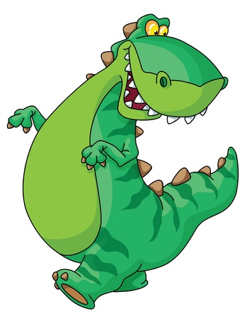 dinosaurio caricatura: Un ejemplo de caminar de dinosaurio