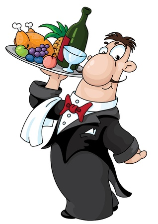 An illustration of a waiter with a tray Vector