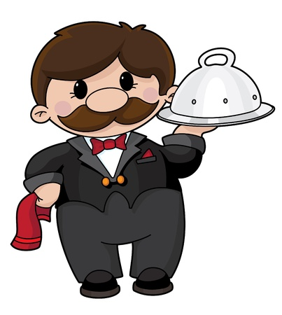lunch tray: An illustration of a waiter with a tray