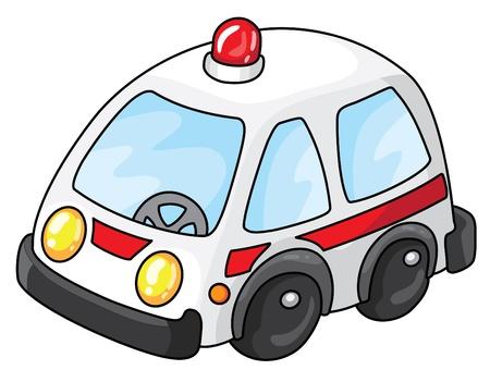 cartoon transportation: Illustration of a white ambulance  Illustration