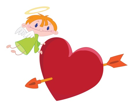 illustration of a angel boy and heart Stock Vector - 10662902