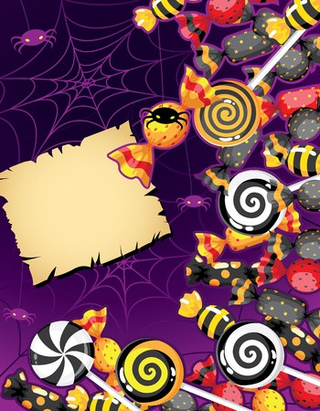 illustration of a Halloween candy card Vector