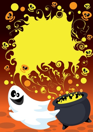 illustration of a Halloween ghost card Stock Vector - 10878464