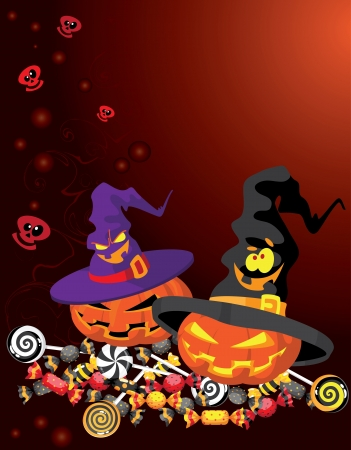 illustration of a Halloween pumpkin card Stock Vector - 10878470