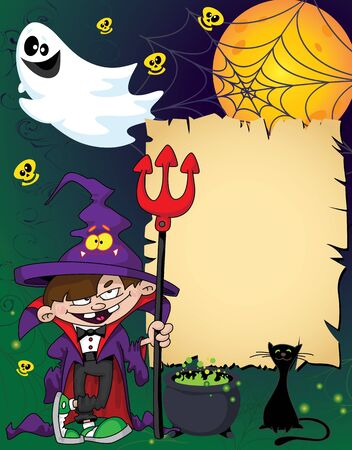 illustration of a Halloween wizard boy Vector