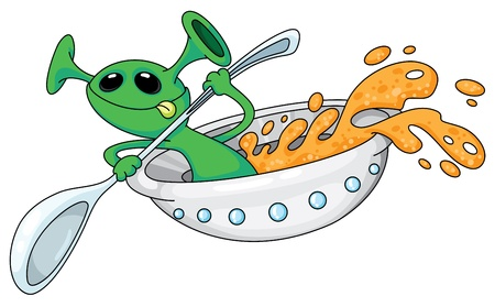 illustration of an alien in a UFO Vector