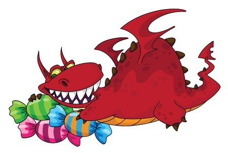 peppermint candy: illustration of a big dragon with sweets Illustration