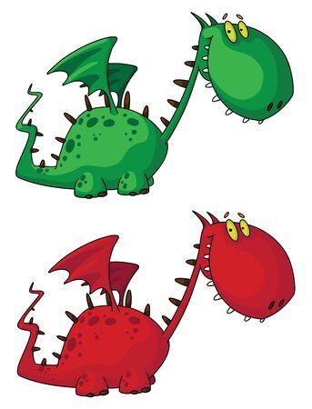 illustration of a cartoon dragon Vector