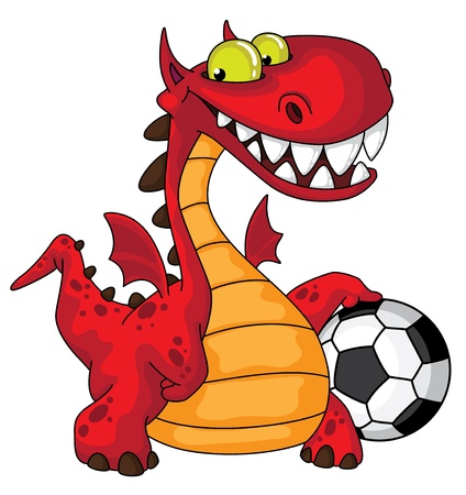 futbol soccer dibujos: ilustración de un dragón y la pelota